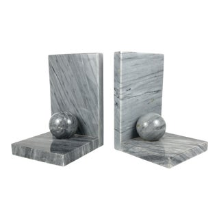 Modern Art Deco Grey Marble Bookends - a Pair For Sale