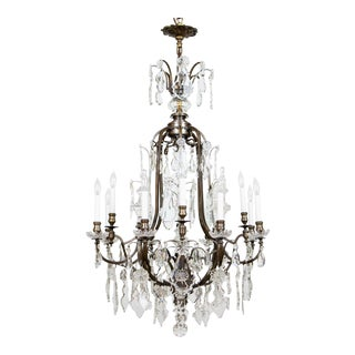 Dark Bronze and Crystal Louis XV Chandelier For Sale