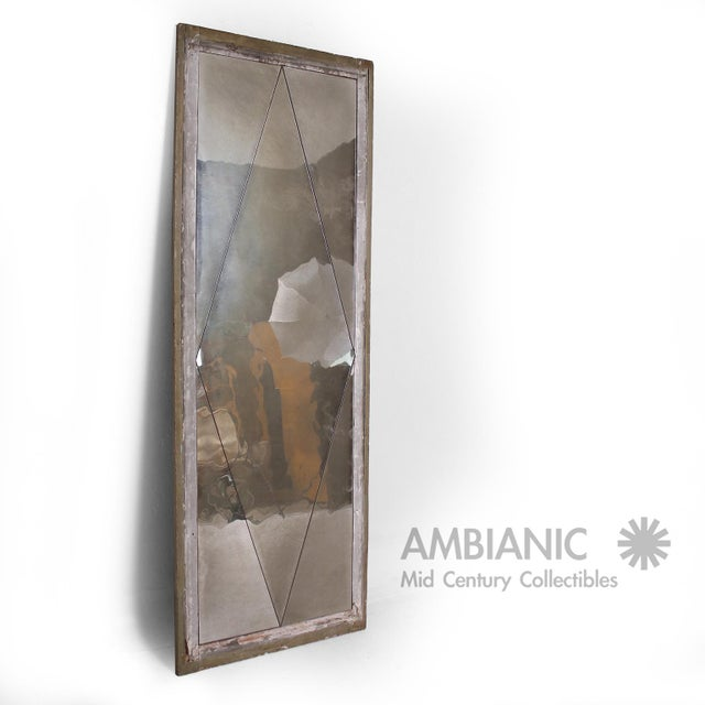 Beautiful distressed floor mirror with diamond pattern - cut. Original antique condition. Made in France, circa 1940s....