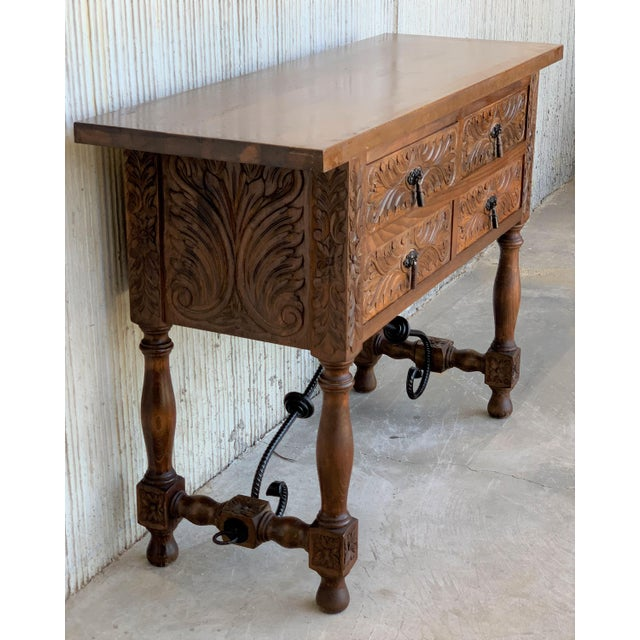 1900 - 1909 20th Spanish Carved Walnut Console Sofa Table, Four Drawers and Iron Stretcher For Sale - Image 5 of 6