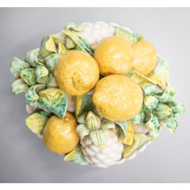 Mid 20th Century Vintage Italian Majolica Lemons & Pineapples Basket Centerpiece For Sale - Image 5 of 8