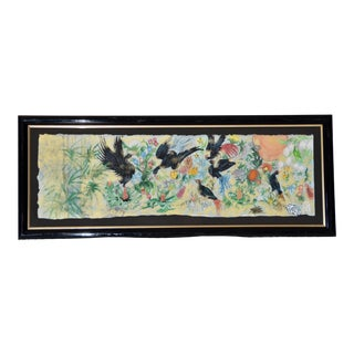 Garden Birds Motif Mixed Media Paper Bamboo Painting For Sale