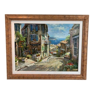 1990s Vintage Original Italian Street Scene Painting For Sale