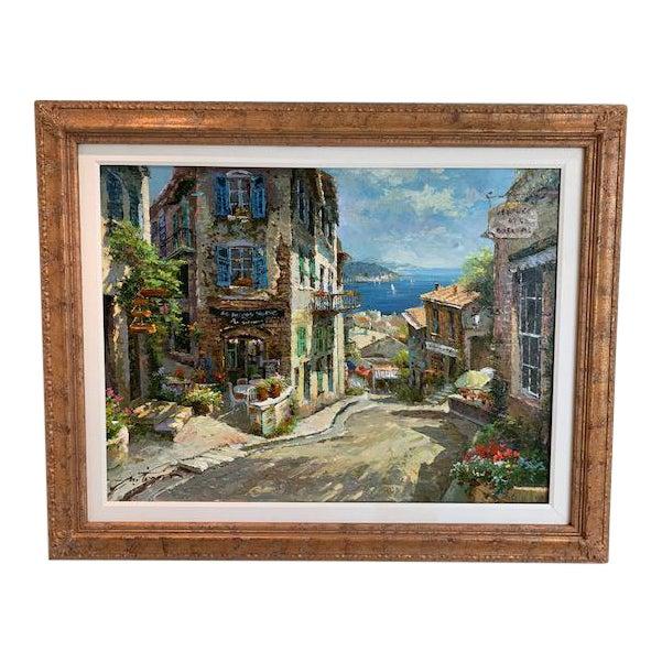1990s Vintage Original Italian Street Scene Painting For Sale