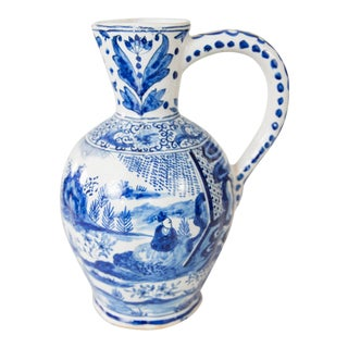 19th Century Dutch Delft Chinoiserie Pitcher With Figures For Sale