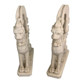 1950s Vintage Marble Lion Sculptures - A Pair For Sale