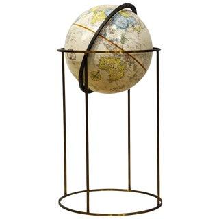 Minimalist Paul McCobb Style Replogle Terrestrial Globe on Brass Stand For Sale
