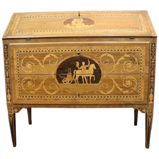 20th Century Antique Louis XVI Style Walnut Inlay Chest of Drawers With Secretaire For Sale