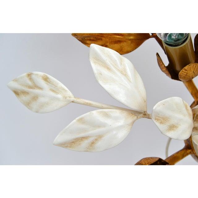 1960s Willy Daro Style Belgium Brass & Enamel Flower Flush Mount in Gold White Finish For Sale - Image 5 of 10