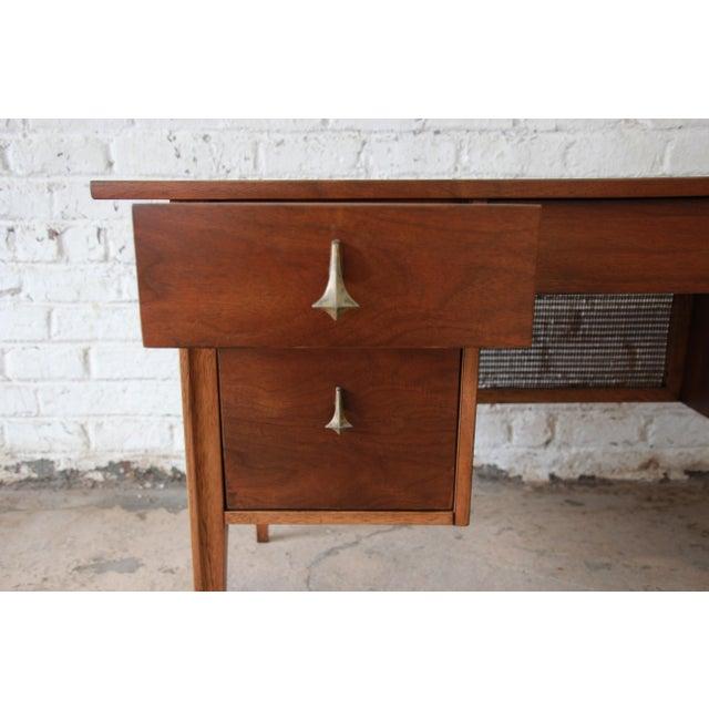 Broyhill Brasilia Mid-Century Modern Sculpted Walnut Desk For Sale - Image 11 of 14