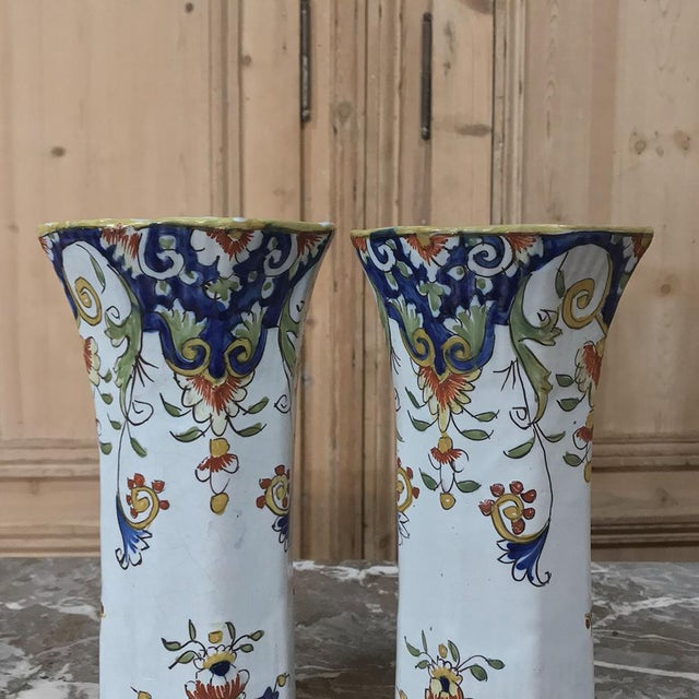 Pair 19th Century French Colorful Hand-Painted Faience Vases From Normandy For Sale - Image 4 of 12