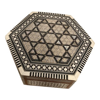 Egyptian Mother of Pearl Inlay Wooden Box For Sale