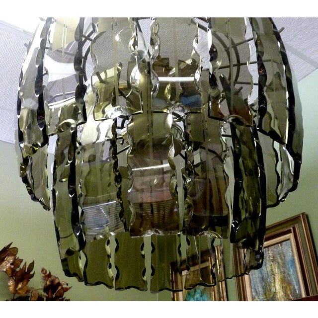 Fontana Arte Smoked Glass Chandelier For Sale In West Palm - Image 6 of 7