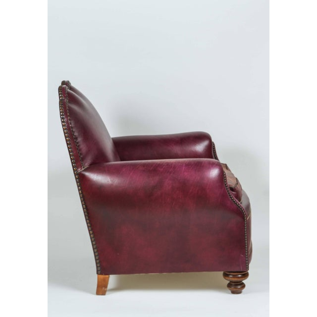 Early 20th Century French Leather Club Lounge Chair For Sale - Image 5 of 9