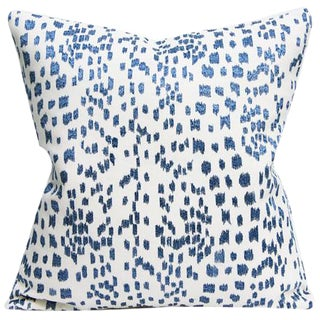 Contemporary Les Touches by Brunswig & Fils Embroidered Blue and White Leopard Pillow Cover For Sale