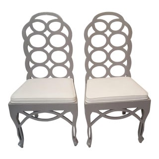 Gray Lacquered Loop Chairs - A Pair