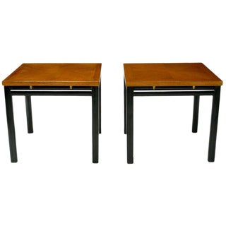 Pair of Michael Taylor Bleached Mahogany and Black Lacquer End Tables For Sale