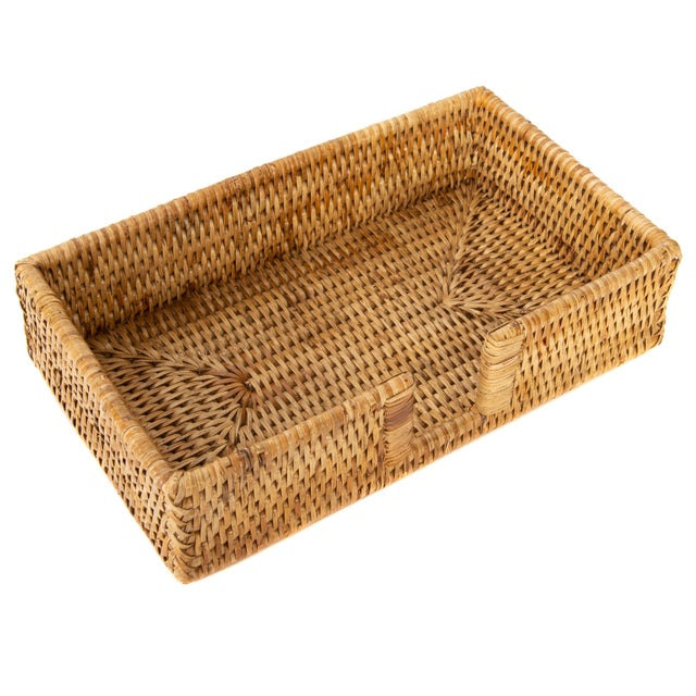 Boho Chic Artifacts Rattan Guest Towel/Napkin Holder With Cutout - Honey Brown For Sale - Image 3 of 6
