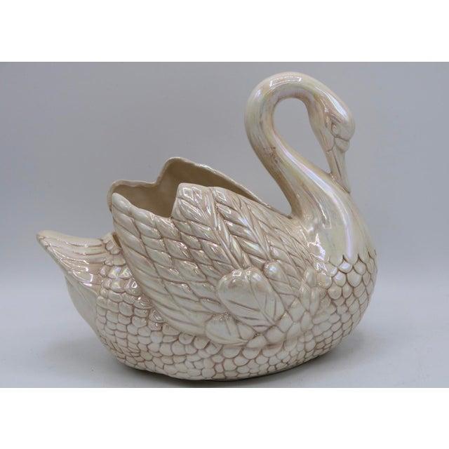 Ceramic Cream Lusterware Swan Cachepot Planter For Sale - Image 7 of 12