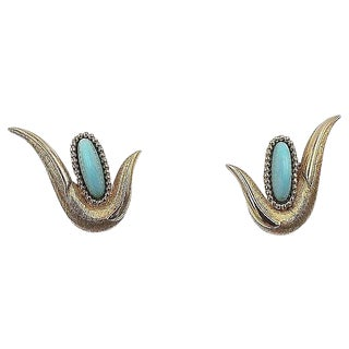 1960s Boucher Faux-Turquoise Rhinestone Cabochon Earrings For Sale