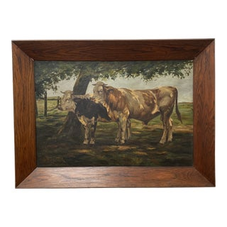 19th Century French Landscape with Cows Oil Painting, Framed For Sale