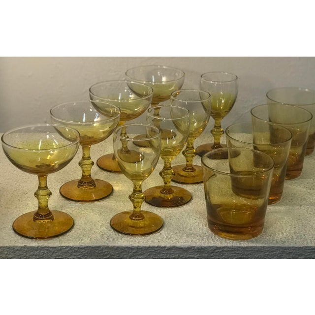 1960s 1960s Yellow Carlo Moretti Style Bar Glass Set of 12 For Sale - Image 5 of 7