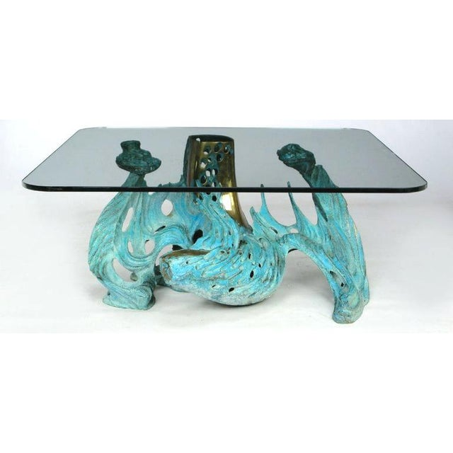 An original Bob Bennett bronze coffee table. Cast from solid bronze, patinated in a aged turquoise finish, with polishing...