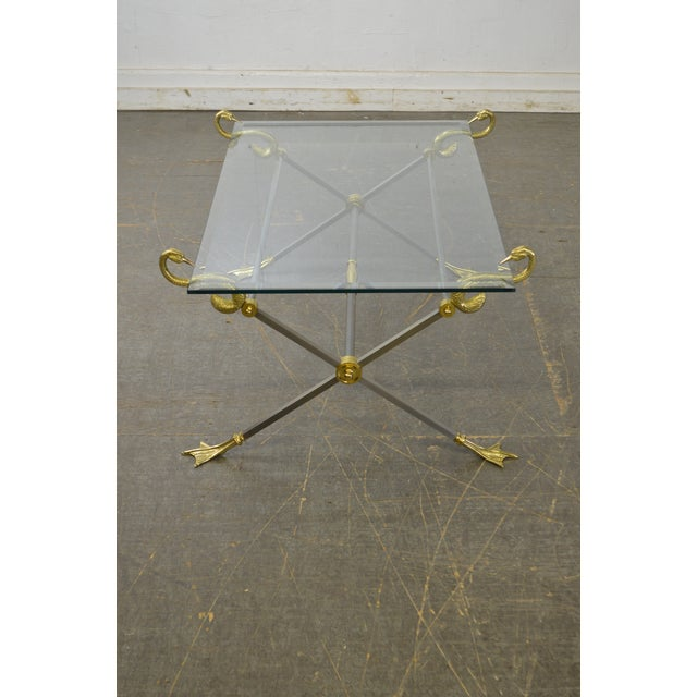 LaBarge X Base Brass Brushed Steel Glass Top Coffee Table For Sale - Image 10 of 13