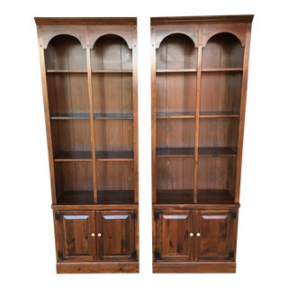Ethan Allen Antiqued Old Tavern Pine Bookcases - a Pair For Sale
