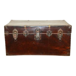 Chinese Hand-Painted Wooden Trunk For Sale