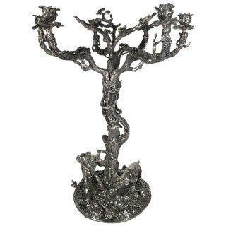 Valenti Large Sculptural Silver Over Bronze Dog and Tree Motif Candle Holder For Sale