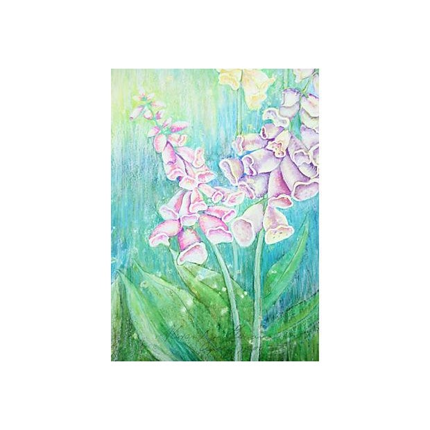 Vintage Pastel Drawing - Foxgloves - Image 3 of 5