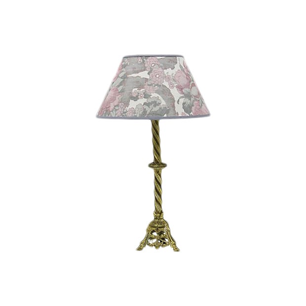 Vintage French Ikat Linen lampshade For Sale