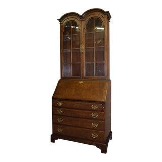 Vintage Hickory Chair Company Two Piece Bonnet Top Mahogany/Burl Secretary Desk For Sale