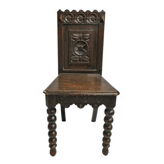 20th Century Gothic Carved Wooden Side Chair For Sale