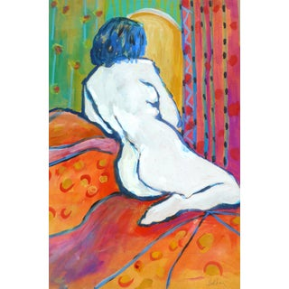 """French Model"" Contemporary Figurative Mixed-Media Painting by Martha Holden For Sale"