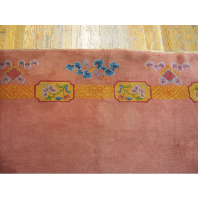 """Antique Chinese Art Deco Rug 6'8"""" X 9'0"""" For Sale - Image 4 of 8"""