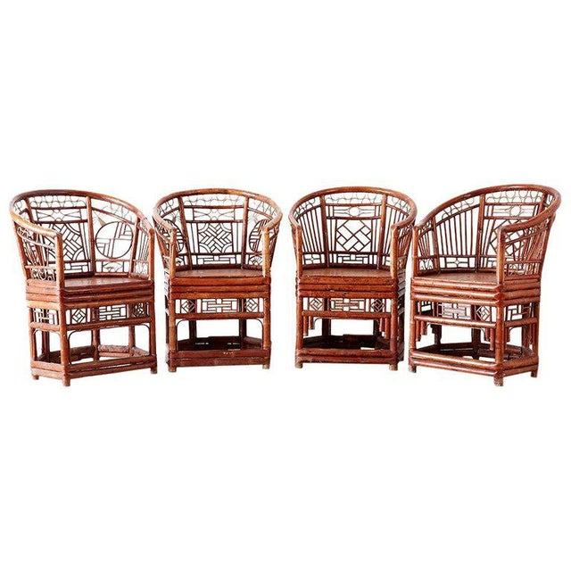 Set of Four Brighton Pavillion Style Bamboo Armchairs For Sale - Image 13 of 13