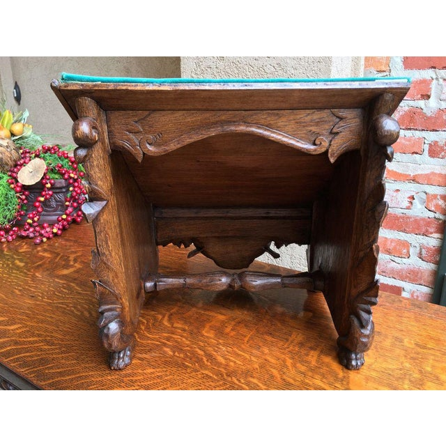 Late 19th Century Antique English Carved Oak Altar Stand For Sale - Image 10 of 11