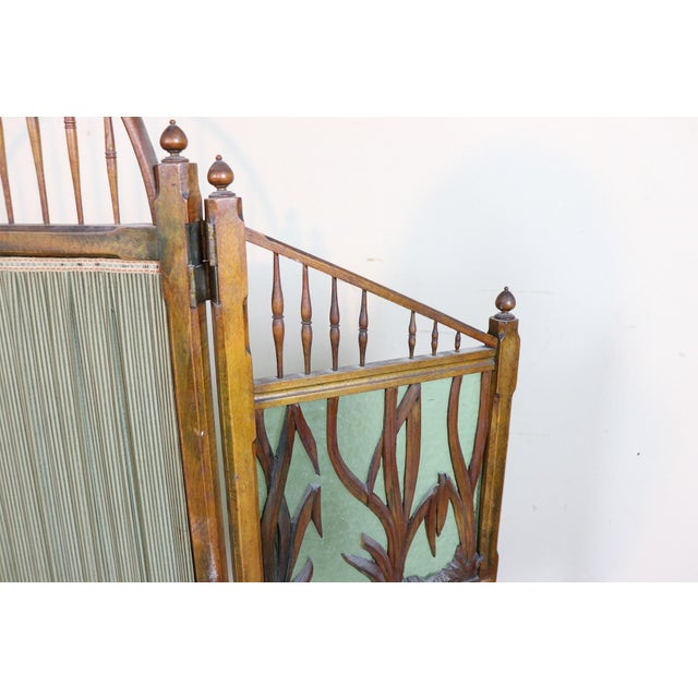 20th Century French Art Nouveau in Wood Colored Glass and Fabric Screen For Sale - Image 4 of 11