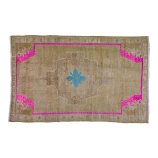 1950s Turkish Oushak Brown and Pink Wool Rug