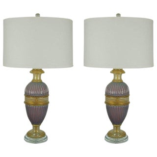 Marbro Murano Opaline Glass Table Lamps Lavender For Sale