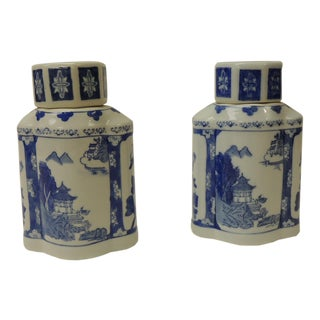 Pair of Blue and White Ceramic Asian Canisters For Sale