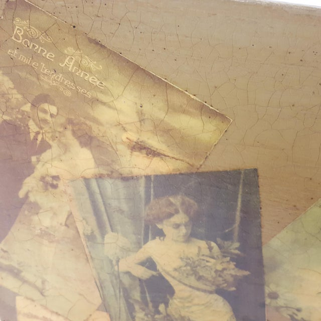 Antique Victorian Postcard Decoupaged Wooden Tote Basket For Sale - Image 9 of 13