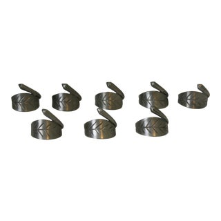 Gray Pewter Leaf Shaped Napkin Rings - Set of 8 For Sale
