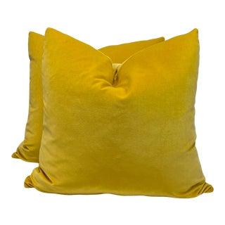 "Marigold Cotton Velvet 22"" Pillows-A Pair For Sale"