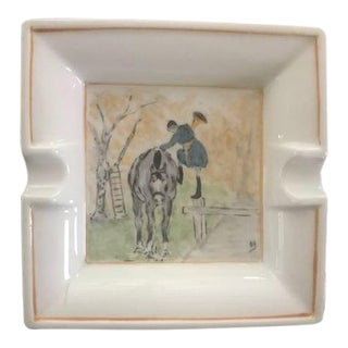Mid Century Hand Painted and Signed Limoges French Cigar Tray For Sale