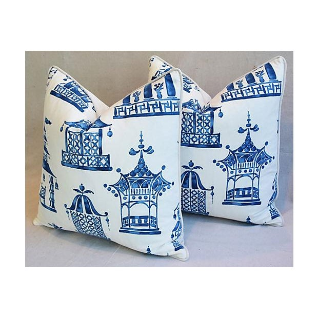 "Early 21st Century Blue & White Chinoiserie Pagoda Feather/Down Pillows 24"" Square - Pair For Sale - Image 5 of 11"