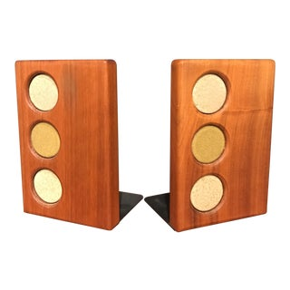 Martz Walnut & Ceramic Bookends - A Pair