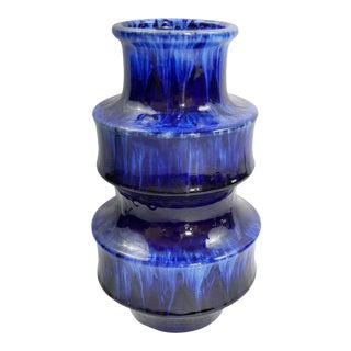 Modernist Blue Flow Glaze Vase For Sale